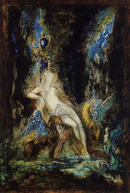 'Deva and Gryphon', by Gustave Moreau {{PD}}