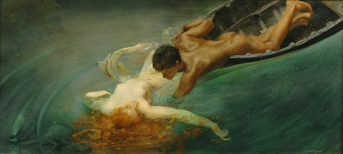 Neptune can lure us through the idea of rescue--our own or that of another--if we eschew responsibility for ourselves, or if we need to see ourselves as rescuers, feeling our armor could use a little shine. Giulio Aristide Sartorio - La Sirena, 1893 {{PD}}