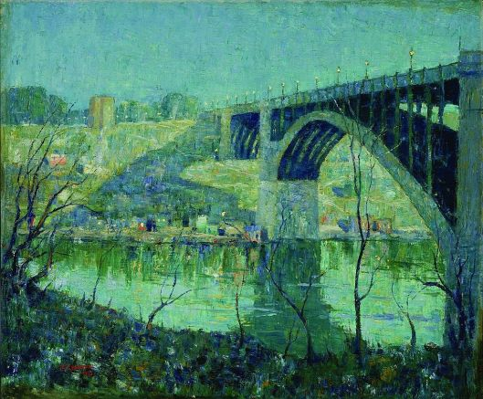 """Lawson Spring Night"" Harlem River by Ernest Lawson - Public Domain via Wikimedia Commons"