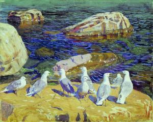 Seagulls (painting by Arkady Rylov, 1910) {{PD}}