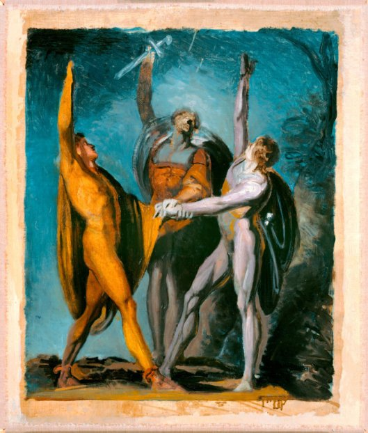 Johann Heinrich Füssli - Sketch for 'The Three Conspirators Swear an Oath on the Rüthli Meadow' 1779 {{PD}}