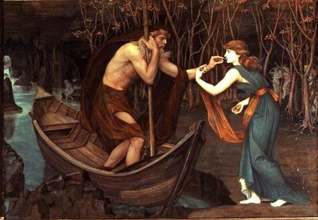 BAL11062 Charon and Psyche (oil on canvas) by Stanhope, John Roddam Spencer (1829-1908) oil on canvas 95.2x138.4 Private Collection Roy Miles Fine Paintings English, out of copyright
