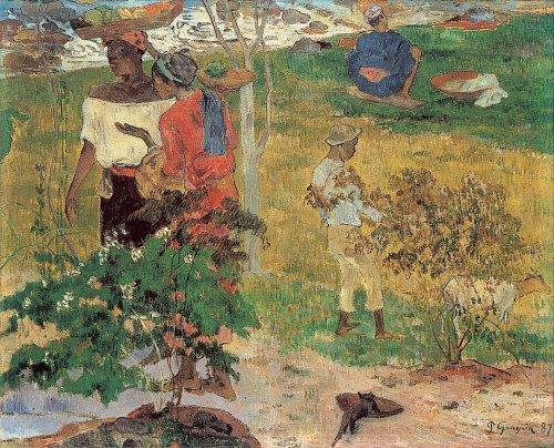 Paul Gauguin 'Conversation Tropiques' 1886 {{PD}}