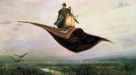 Viktor M. Vasnetsov 'The Flying Carpet', a depiction of the hero of Russian folklore, Ivan Tsarevich Русский: «Ковёр-самолёт» 1880 {{PD}}