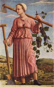 Francesco del Cossa: Autumn (Polyhymnia) 1455-1460 {{PD}}