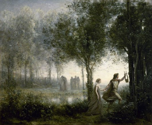 Jean-Baptiste-Camille Corot - 'Orpheus Leading Eurydice from the Underworld' 1860 {{PD}}