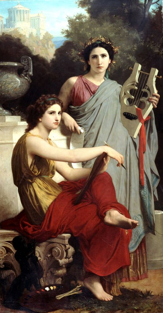 Self-doubt could wear us out today. 'Art and Literature' by William-Adolphe Bouguereau 1866 {{PD}}