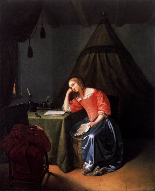 Though we've got clear ideas on how to advance our cause, we may get distracted. Caspar Netscher - 'Young Girl Holding a Letter' c1665 {{PD}}