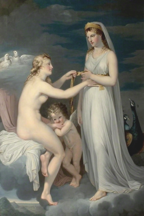 Ladies have shared their wardrobes since time immemorial. Attributed to Guy Head -' Juno Borrowing the Girdle of Venus' c1771 {{PD}}