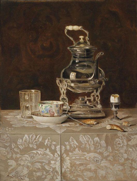 'Stillleben mit Samovar und chinesischer Teeschale' (Still Life with Samovar and Teacup) Max Schödl 1869 {{PD}}