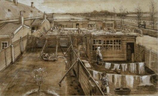 Van Gogh 1882 'The Hague - Carpenter's Yard and Laundry' {{PD}}