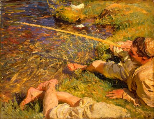 John Singer Sargent - 'Val d'Aosta, A Man Fishing' 1907 {{PD}}