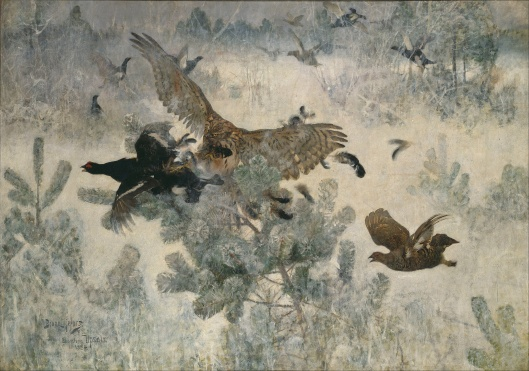 Bruno Liljefors 'Hawk and Black-Game' 1884 {{PD}}