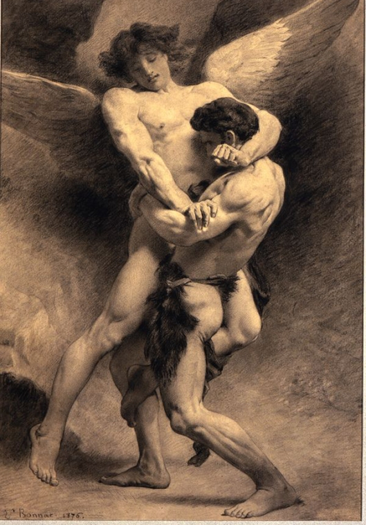 We may wonder in our own world which side of the power struggle is Jacob, which one the Angel? 'Jacob Wrestling with the Angel' by Léon Bonnat 1875 {{PD}}