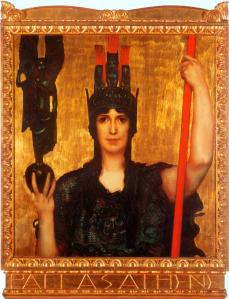 Franz von Stuck  'Pallas Athene' 1898 {{PD}} Notice the similarity to Klimt's work, especially the breastplate--they were painted in the same year.