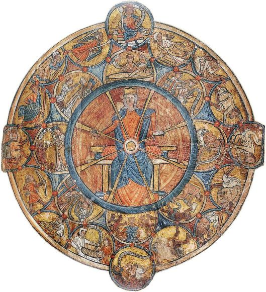 An early wheel of fortune from an illuminated psalter, by William de Brailes c1240 {{PD}}