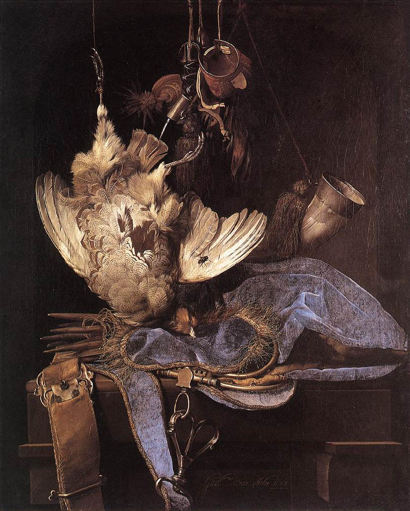 Artist  Willem van Aelst 'Still life with hunting equipment and dead birds' 1668 {{PD}}