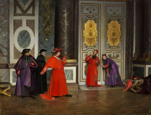 Cardinals in the anteroom of the Vatican--trying to listen in, of course. By Henri Adolphe Laissement 1895 {{PD}}