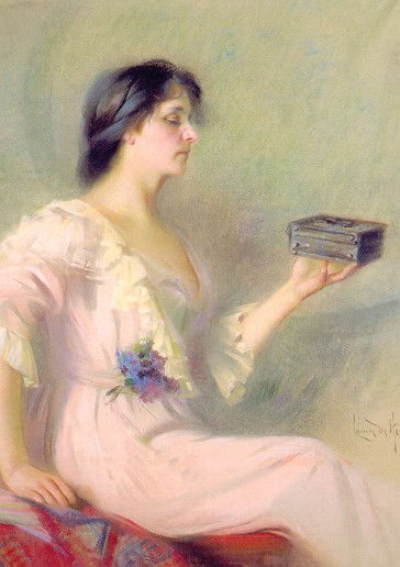 We may not want to look, but that's exactly where the answers lie. Louise De Hem - 1910 - 'Pandora's Box' {{PD}}