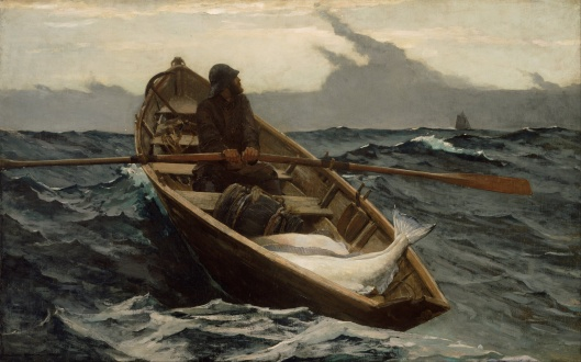 The Advice is in the title. Winslow Homer - 'The Fog Warning' 1885 {{PD}}