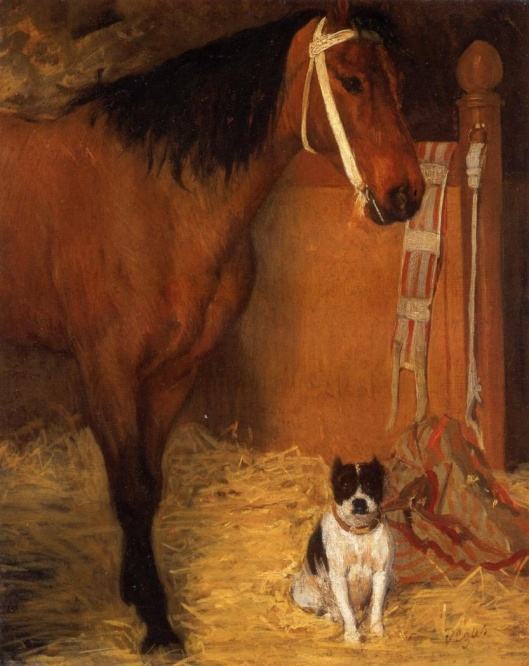 'At the Stables, Horse and Dog' 1862 Edgar Degas {{PD}}