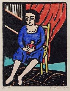 'Spielendes Mädchen' (Girl Playing), 1918, Georg Schrimpf {{PD}}