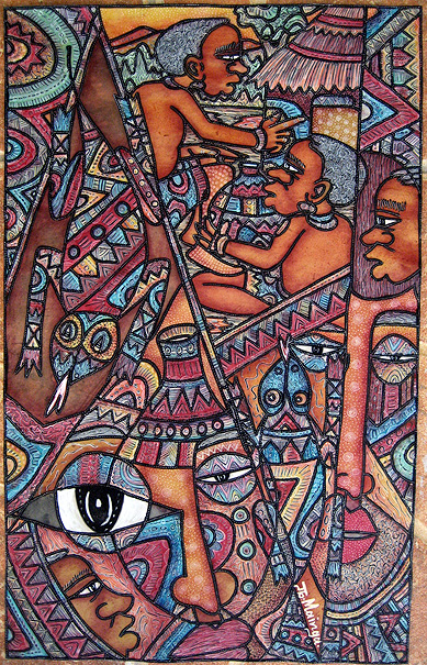 "African Riddle"" by John Mainga - (33x53cm), acrylics and watercolors on leather Photo by Todd Schaffer Creative Commons Attribution-Share Alike 3.0 Unported"