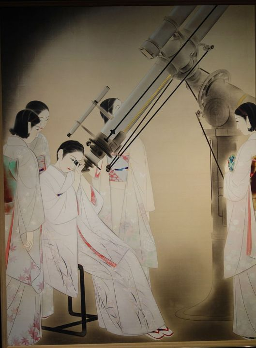 Women Watching Stars by Chou Ota, 1936 {{PD}} uploaded by Daderot via Wikimedia Commons