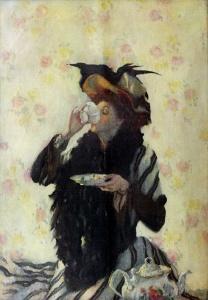 'A Cup of Tea' Lilian Westcott Hale 1909 {{PD}}