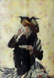 'A Cup of Tea' Lilian Westcott Hale 1909 {{PD}}