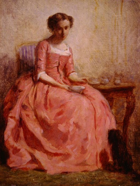 'Girl in a Pink Dress, Reading, With a Dog' Charles Joshua Chaplin {{PD}}