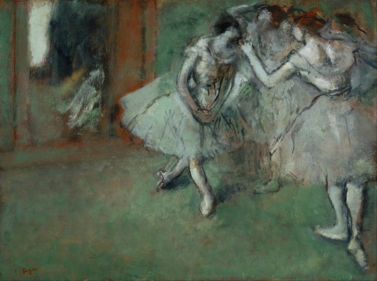 How much do we want to accommodate others, how much do we want to perform alone? Edgar Degas - 'A Group of Dancers' 1890 {{PD}}
