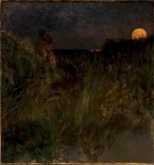 Eilif Peterssen - Moonrise over the dunes 1882 {{PD}}