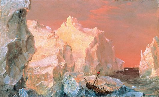 The title of this painting says it all. 'Icebergs and Wreck in Sunset' Frederic Edwin Church 1860 {{PD}}