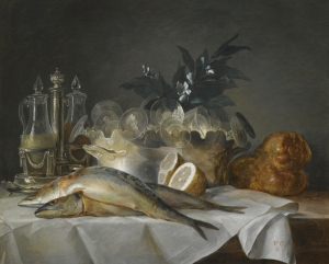 Anne Vallayer-Coster - 'A still life of mackerel, glassware, a loaf of bread and lemons on a table with a white cloth' 1787 {{PD}}