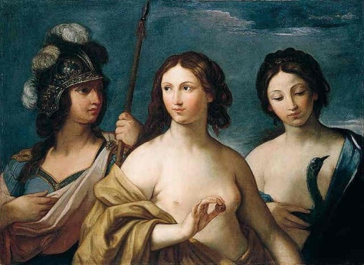 A kind of family portrait, with a female guise of Pluto in Minerva, per some astrologers, mostly notably Isabel Hickey. 'Minerva, Venus and Juno (The Judgement of Paris)' Giovanni Andrea Sirani 1638 {{PD}}