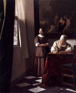 Johannes Vermeer - 'Lady Writing a Letter with Her Maid' c1670 {{PD}}