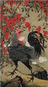 Nandina and Rooster from the Colorful Realm of Living Beings by Itō Jakuchū, c. 1761-65 (Edo Period) {{PD}}