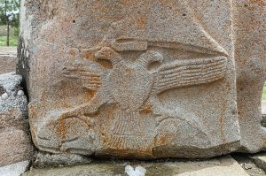Relief representing a two-headed eagle on the sphinx located at the right of the Sphinx Gate, Alaca Höyük, Turkey Photo by Bernard Gagnon GNU Free Documentation License