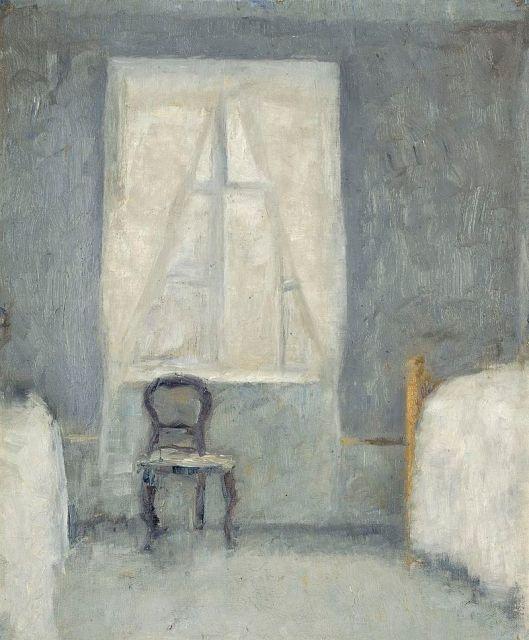 Vilhelm Hammershøi - Sovekammer (1890) {{PD}}