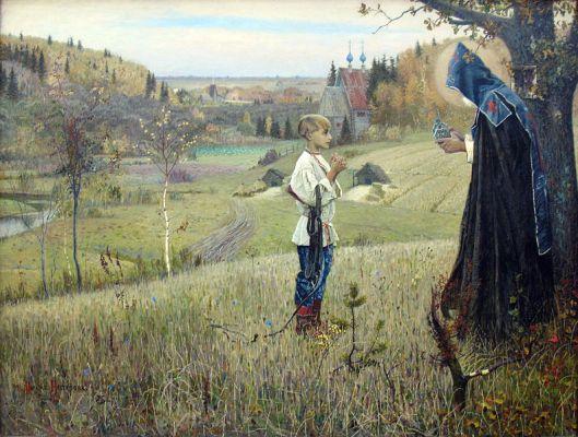 'Bartholomew's Vision' 1889 Mikhail Nesterow {{PD}}
