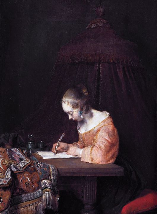 Writing it all down might help, too. Gerard ter Borch c1655 {{PD}}