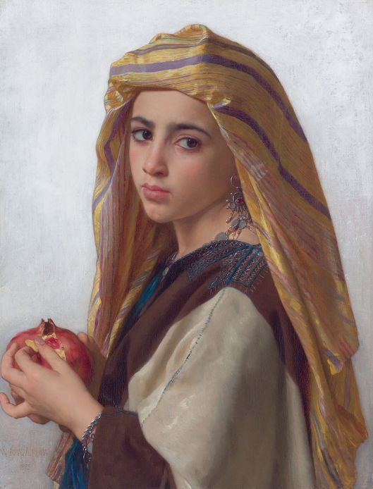 Girl with a pomegranate, by William Bouguereau 1874 {{PD}}