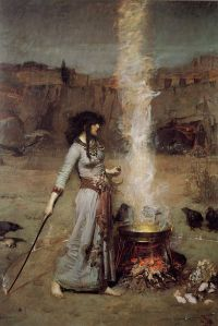 This could be Ceres, currently in Aries, Mars' sign, brewing up said potion. John William Waterhouse - Magic Circle 1885 {{PD}}