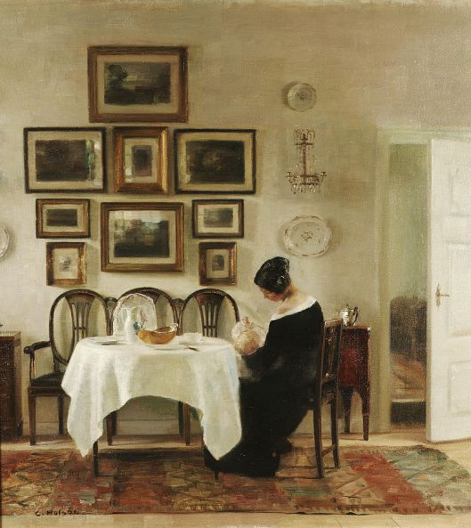 Carl Holsøe 'Mother and Child in a Dining Room Interior' {{PD}}