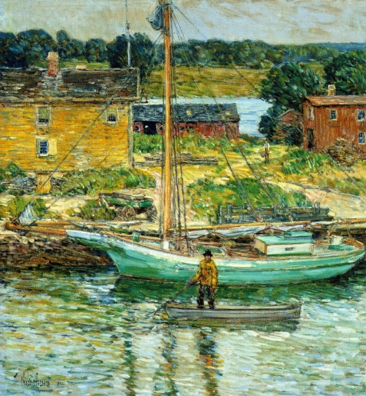 'Oyster Sloop, Cos Cob' Childe Hassam c1902 {{PD}}