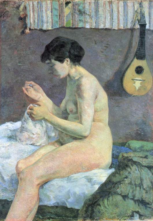 Paul Gauguin: Study of a Nude (Suzanne Sewing), 1880 {{PD}}