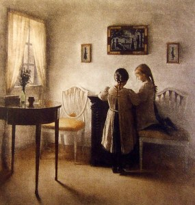 'Two Girls Playing' Peter Ilsted c1900 {{PD}}