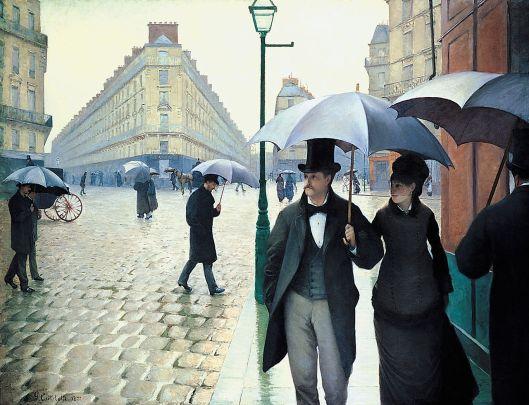 'Rue de Paris, temps de pluie' Gustave Caillebotte 1876 {{PD}}