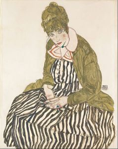 Egon Schiele - 'Edith with Striped Dress, Sitting' 1915 {{PD}}